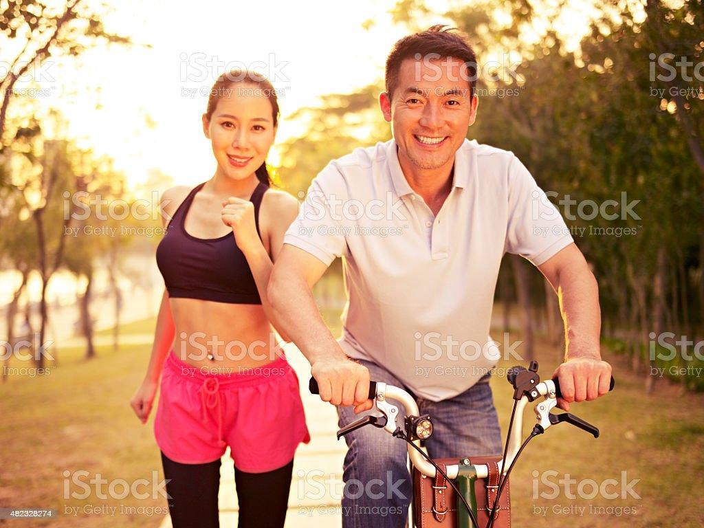 Wet couple asian outdoor