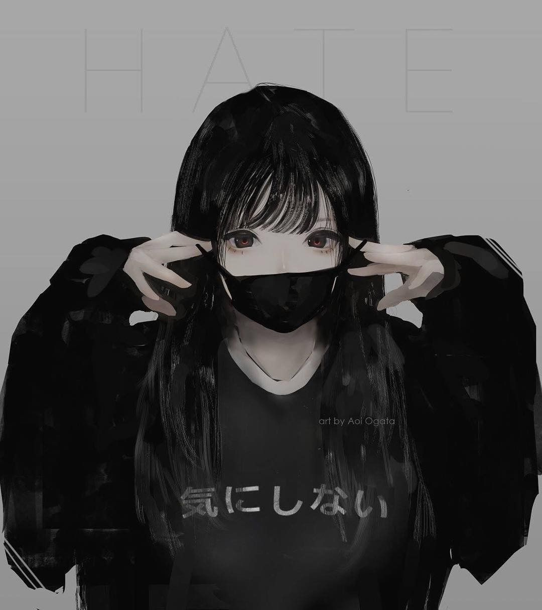 hair Emo anime black girl with