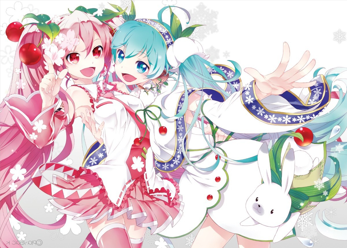 blue hair girl and pink Anime eyes with