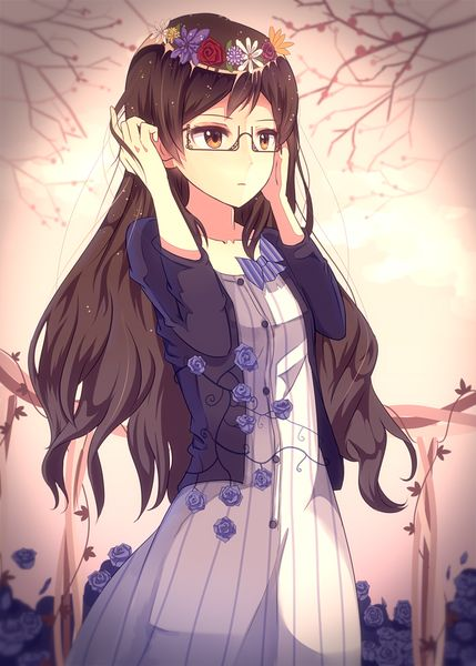 hair and Anime with glasses black girl