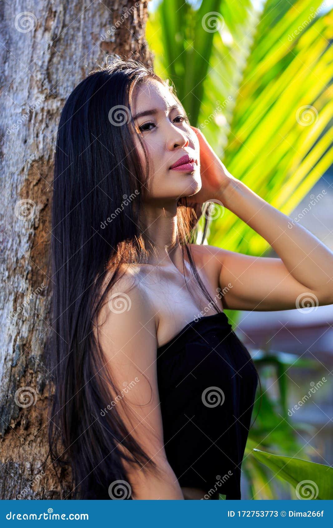 outdoor watching Asian closeup