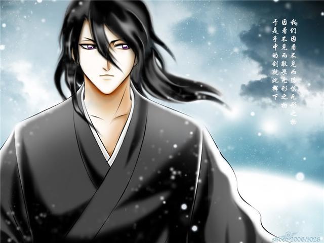 male long black hair Anime