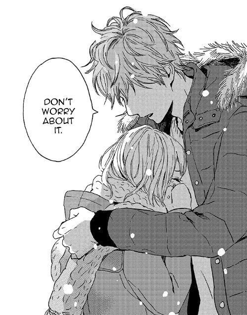 Anime guy comforting girl
