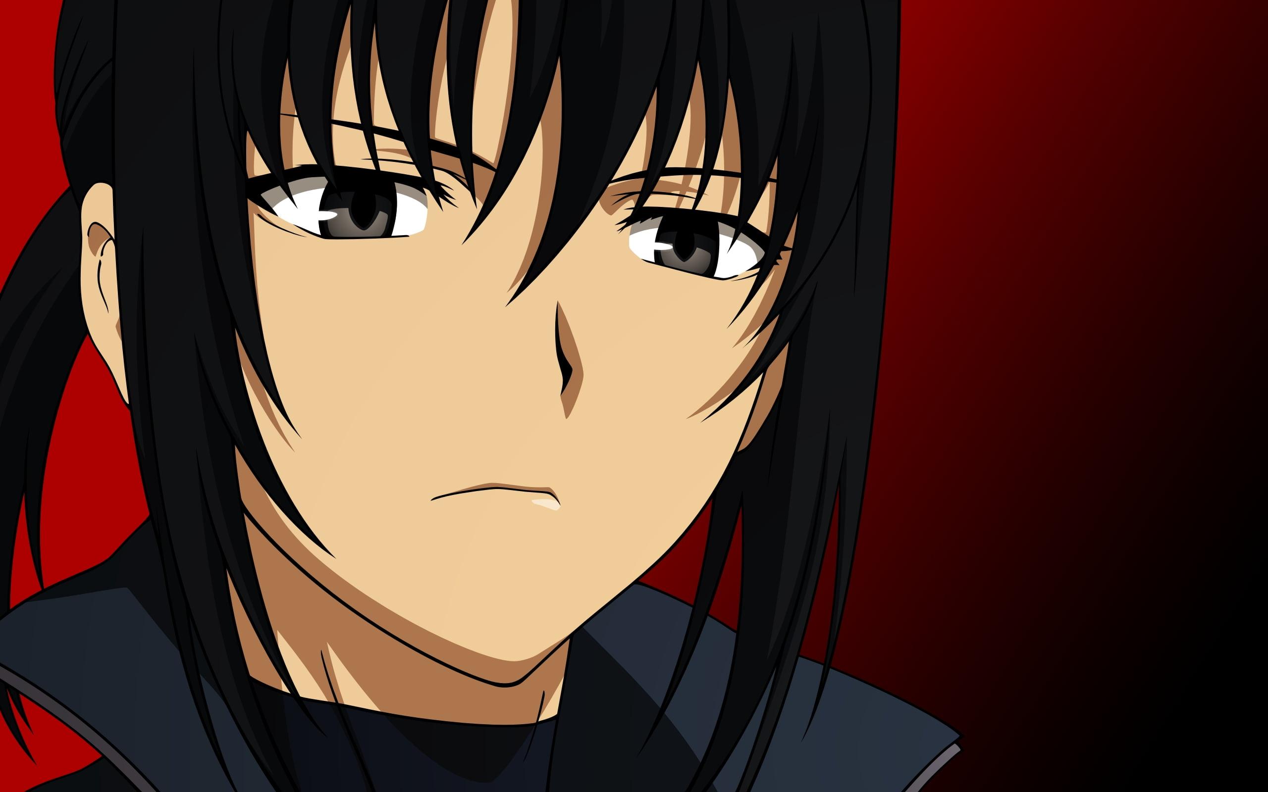 Anime male long black hair