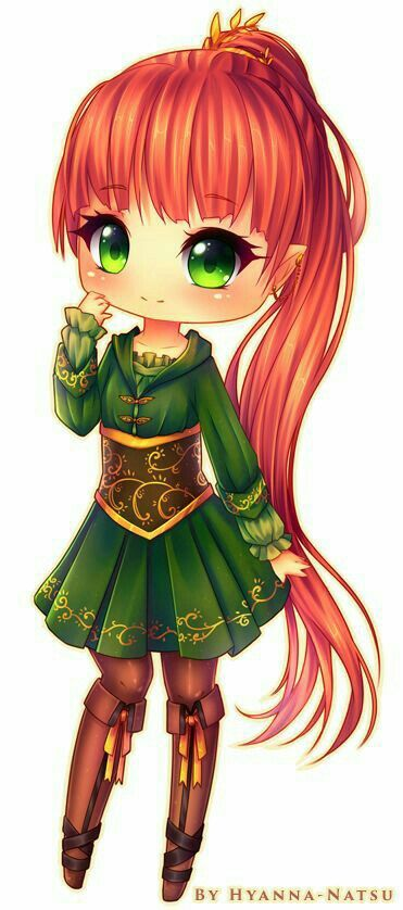 Red haired anime girl with green eyes