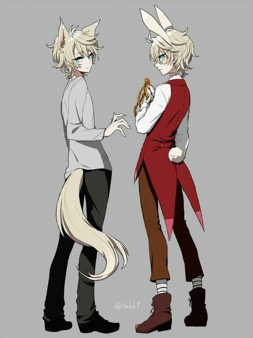 Anime wolf and boy