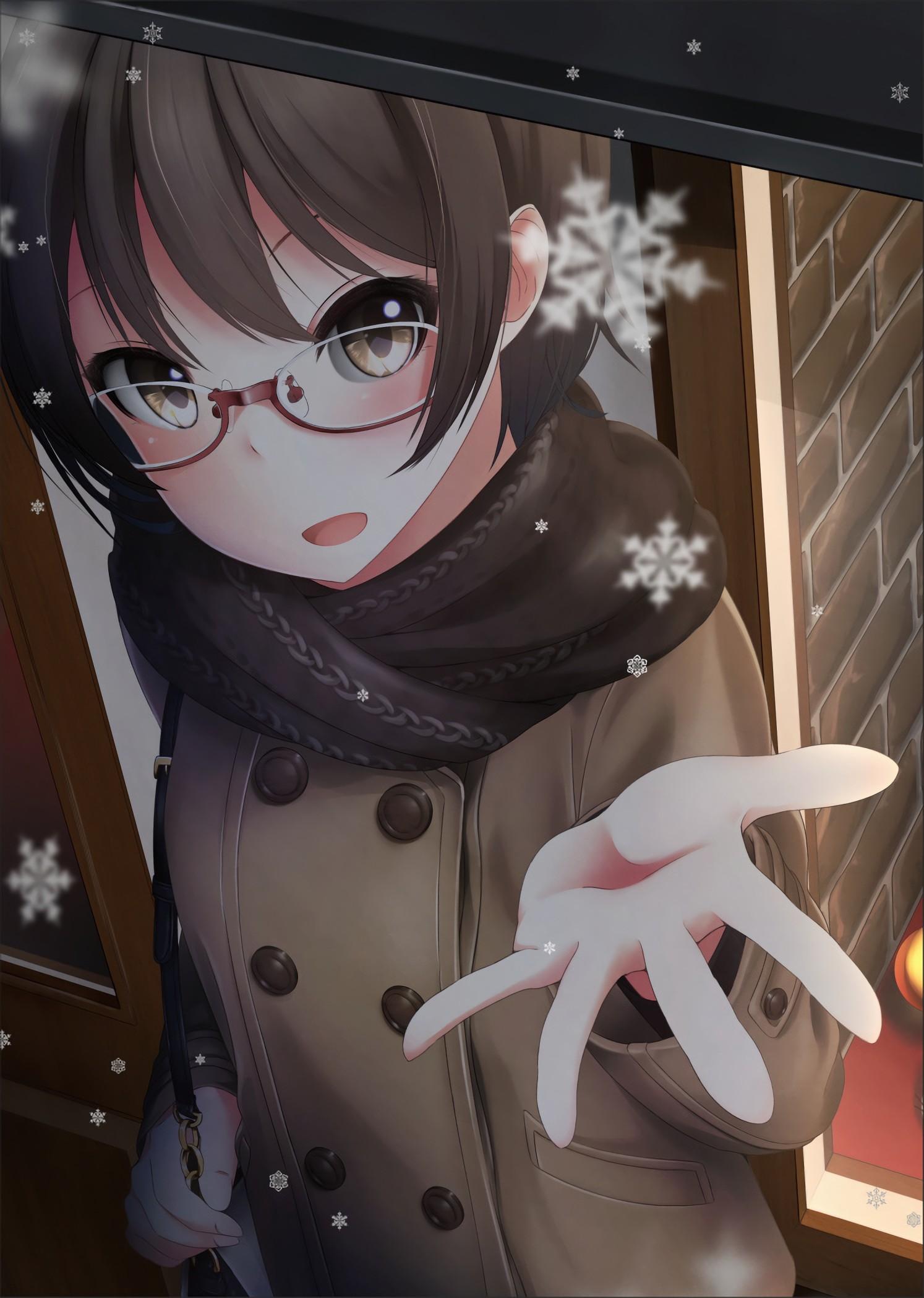 Anime girl black hair red eyes