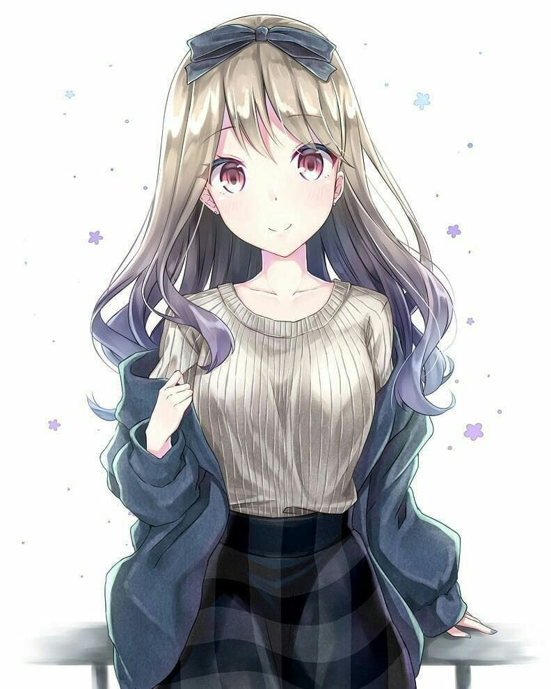 Cute anime girl blonde hair