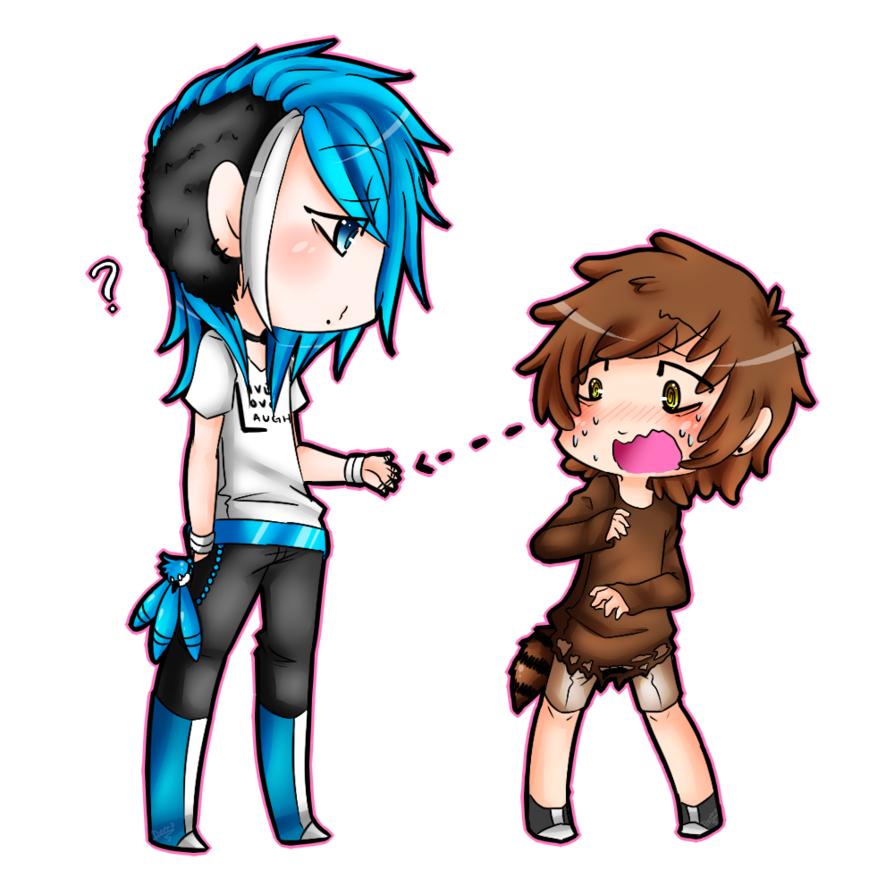 girl boy Anime holding
