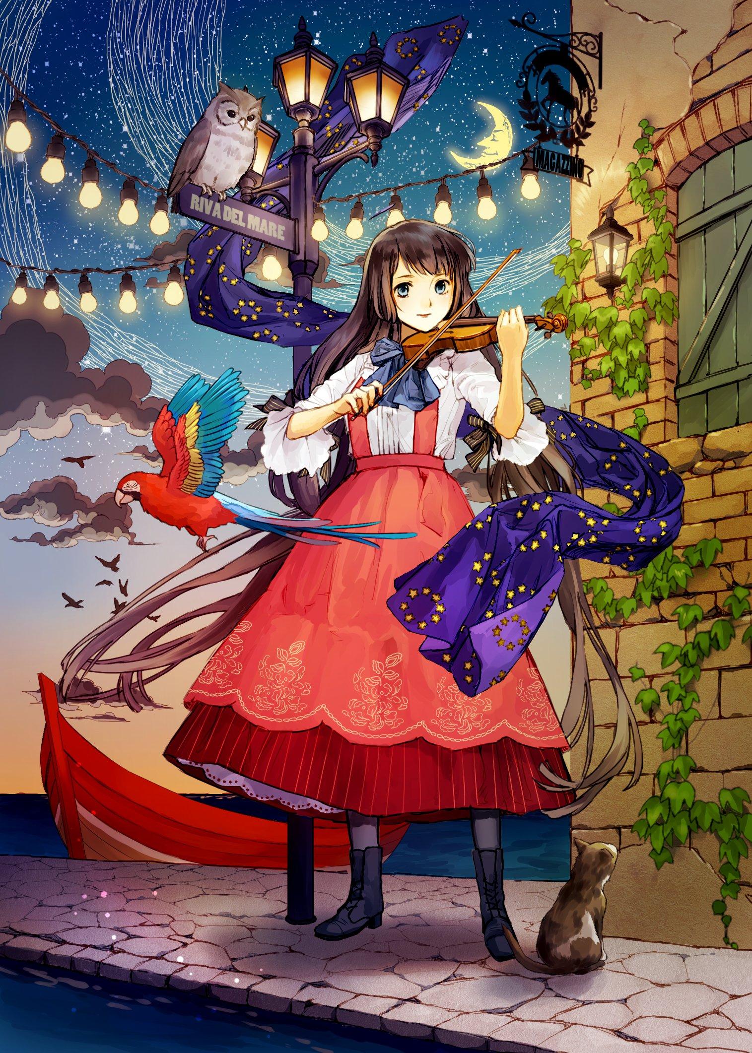 girl blue eyes hair long brown Anime