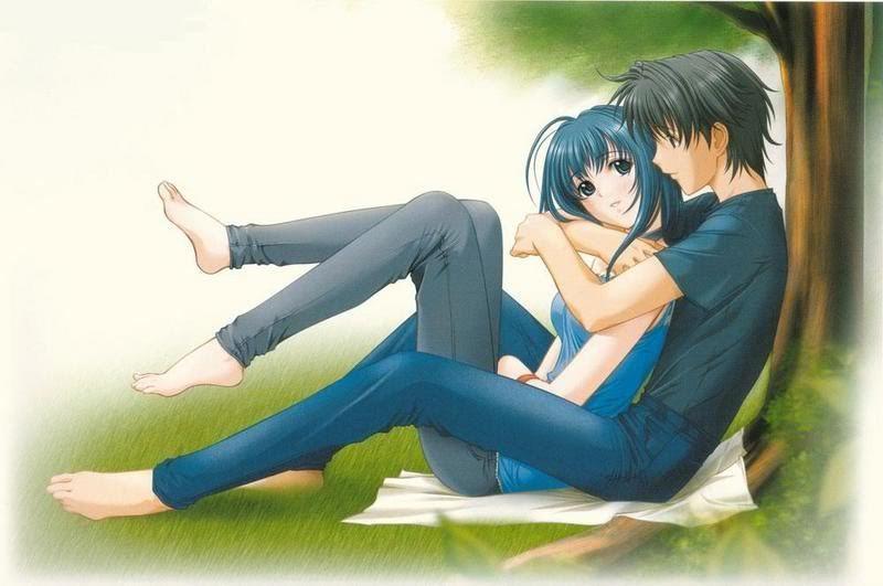 Anime boy and girl together