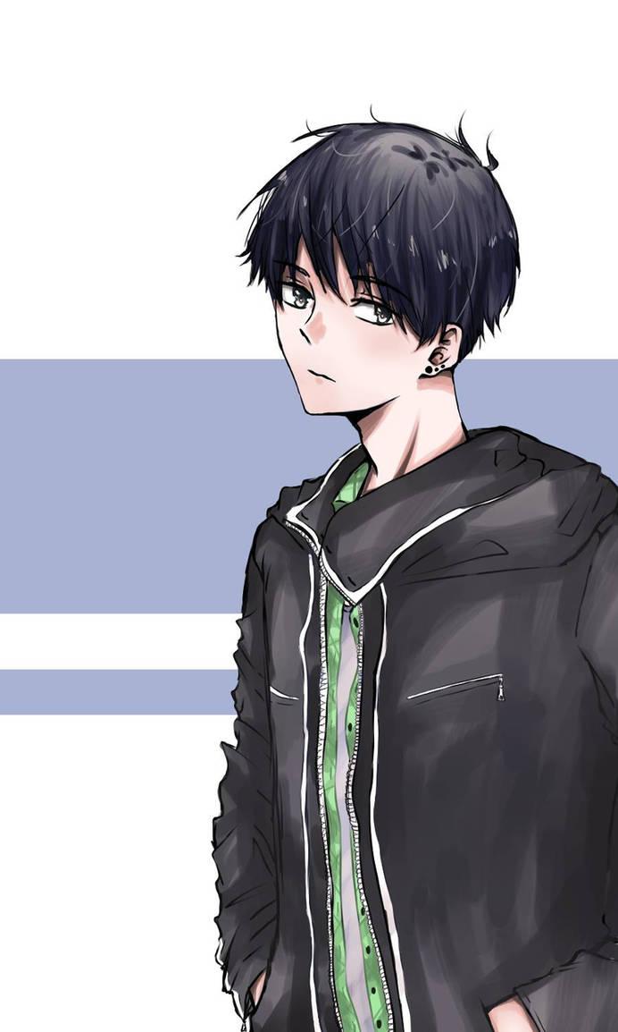 with Anime black hair boy