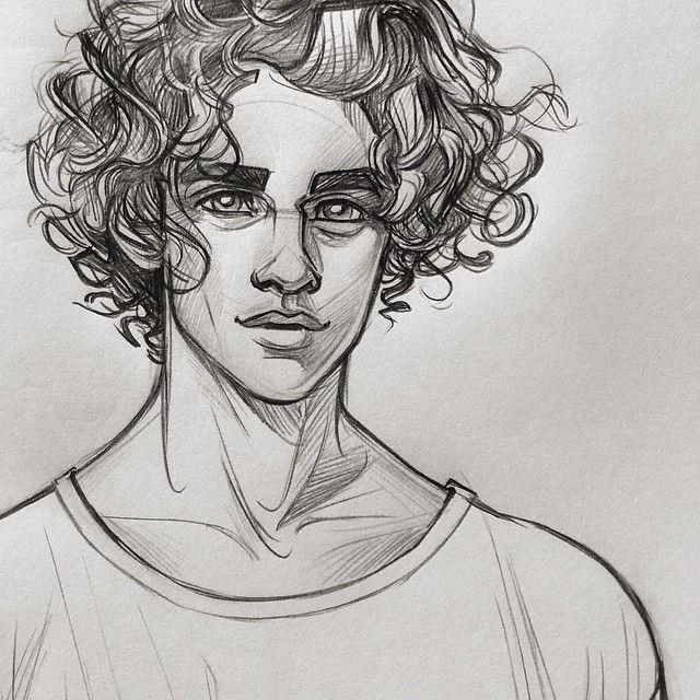 with Anime hair boy curly
