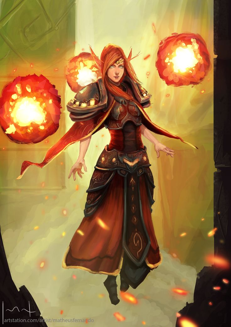 Anime female fire mage