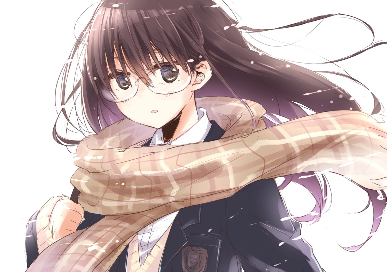 brown hair girl Anime eyes black