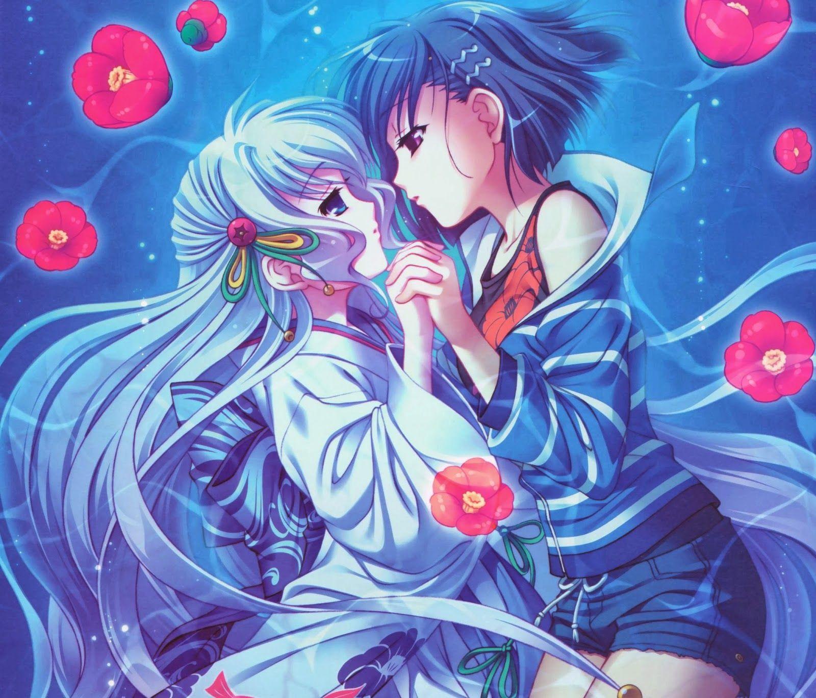 kissing girl girl Anime