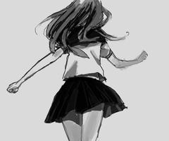 walking away girl Anime