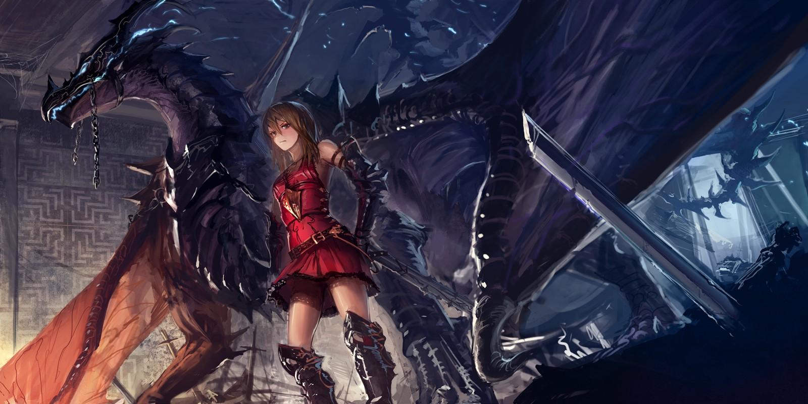 Anime girl with a dragon