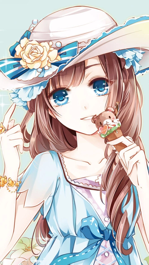 blue with Anime eyes and brown hair girl