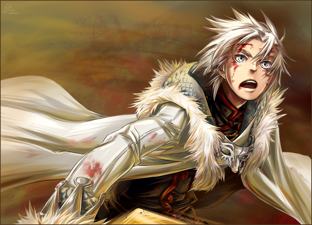 guy eyes and with red Anime silver hair