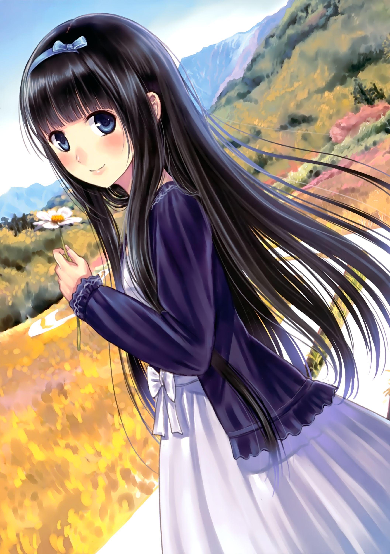 girls Black hair anime