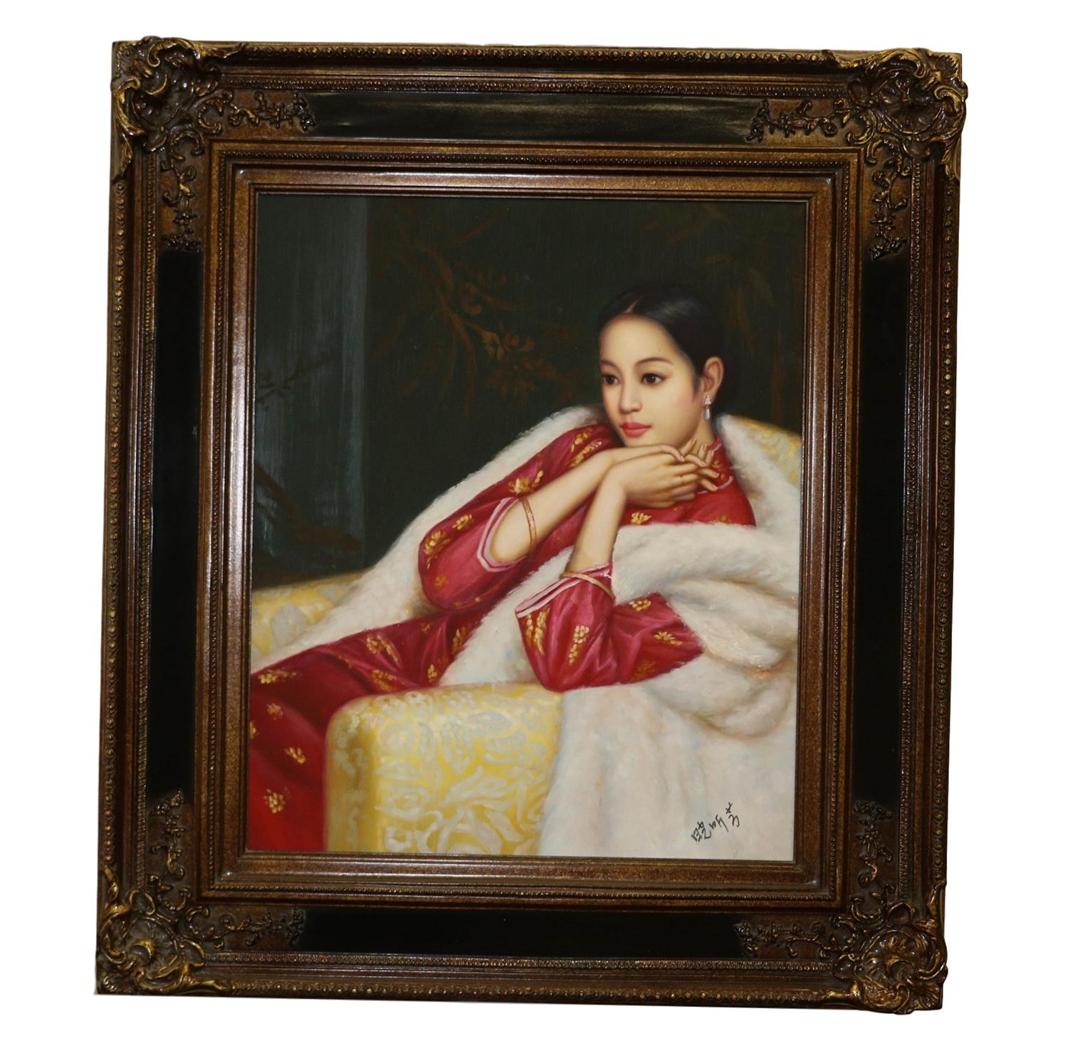 chinese girl nude painting Oil