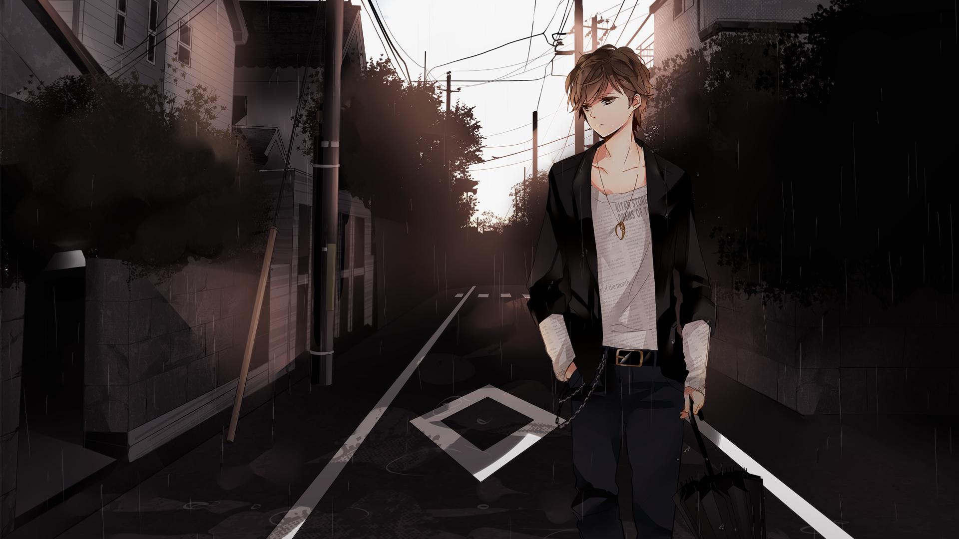 Cute brown haired anime boy
