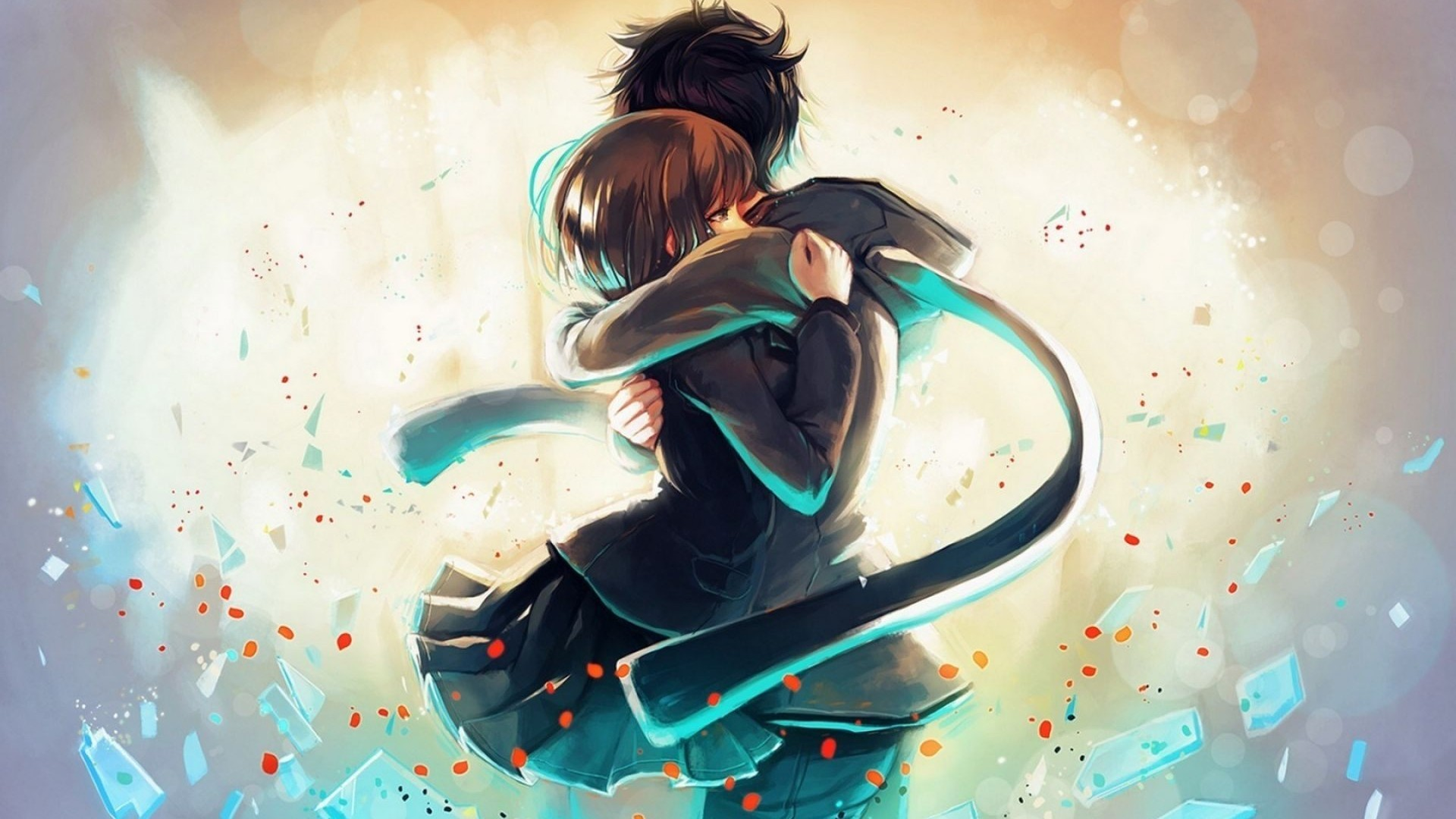 couples hugging anime Cute
