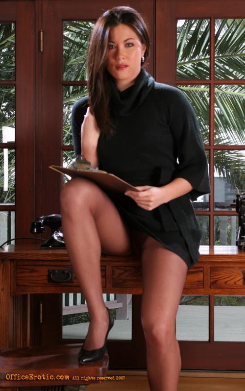 secretary Asian dildo lingerie