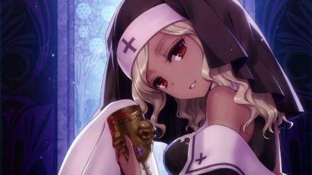 Dark skin anime girl with white hair