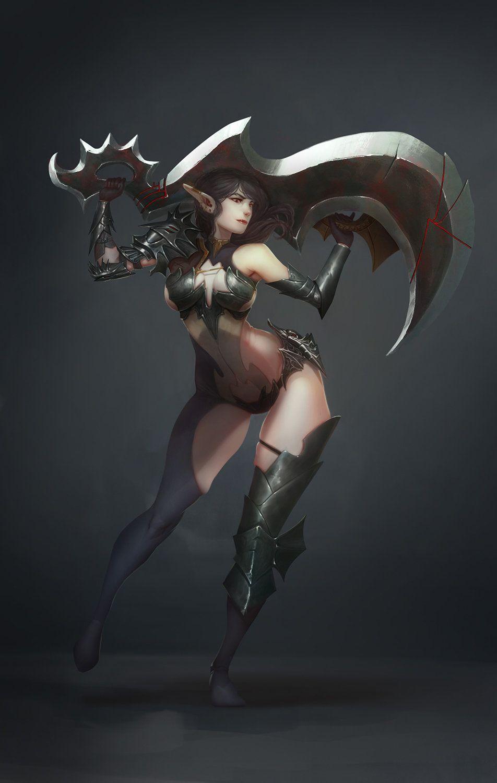 warrior drawing Anime girl